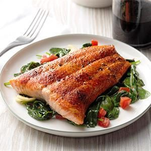 Roasted Salmon with Sauteed Balsamic Spinach