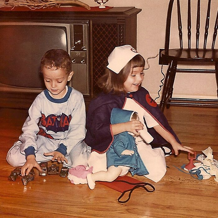 children playing with toys on Halloween