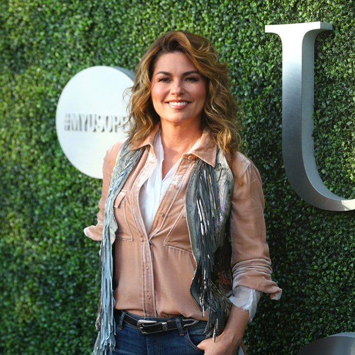 Canadian country singer and songwriter Shania Twain on the blue carpet before US Open 2017 opening night ceremony at Tennis Center in New York