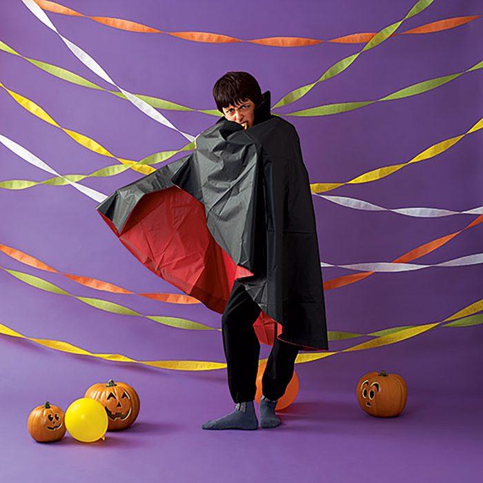 young boy in DIY vampire costume