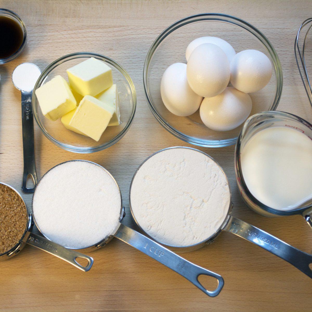 Baking Ingredients on Wooden Board