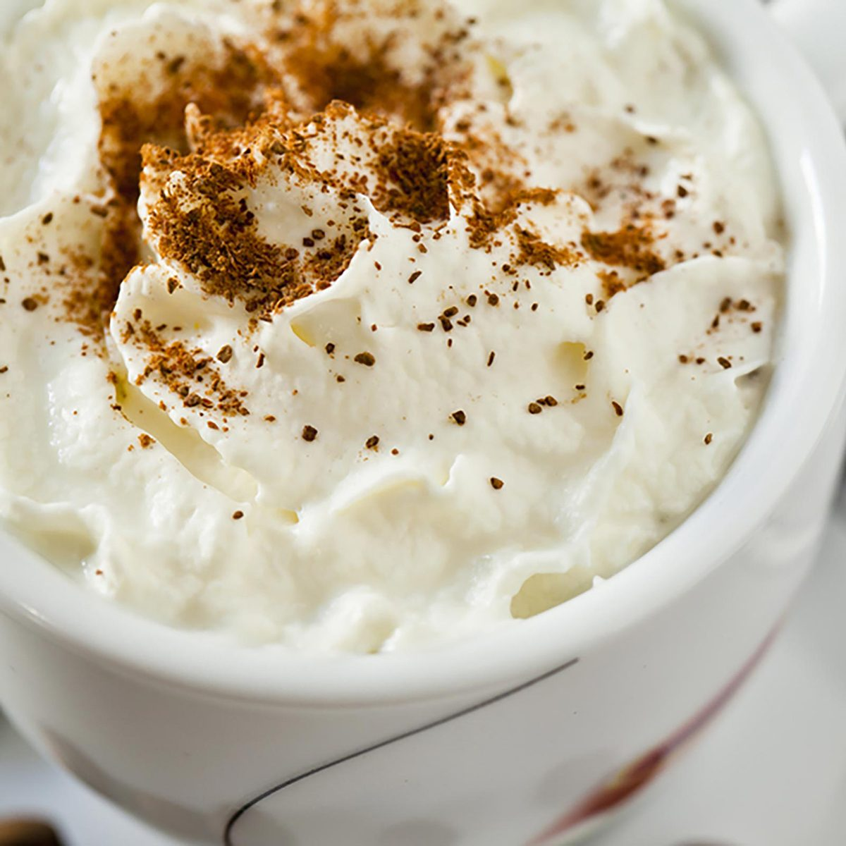Coffee covered in whipped cream