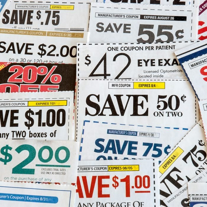 Colorful clipped multi valued grocery coupons.