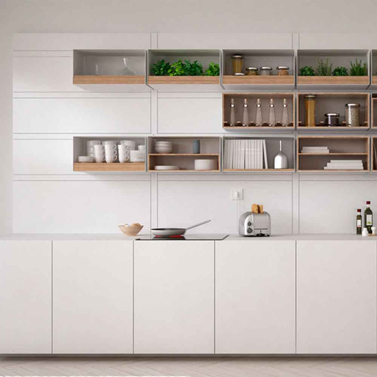 White kitchen with high wooden shelving