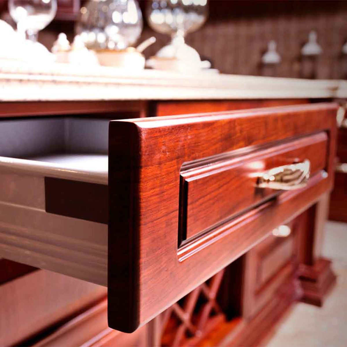 Opened drawer in a kitchen