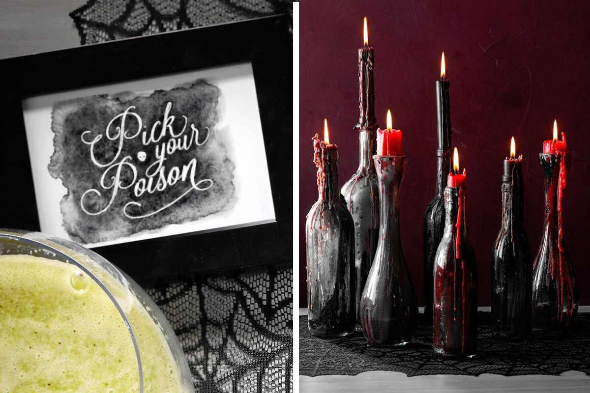 Easy halloween decoration ideas, printouts and homemade candle holders