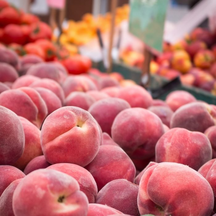 Peaches at the Clement Street Farmer's Market in San Francisco.