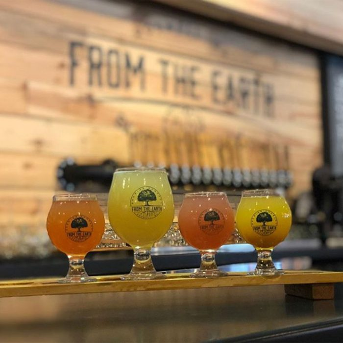 Line of drinks at From the Earth Brewing Company