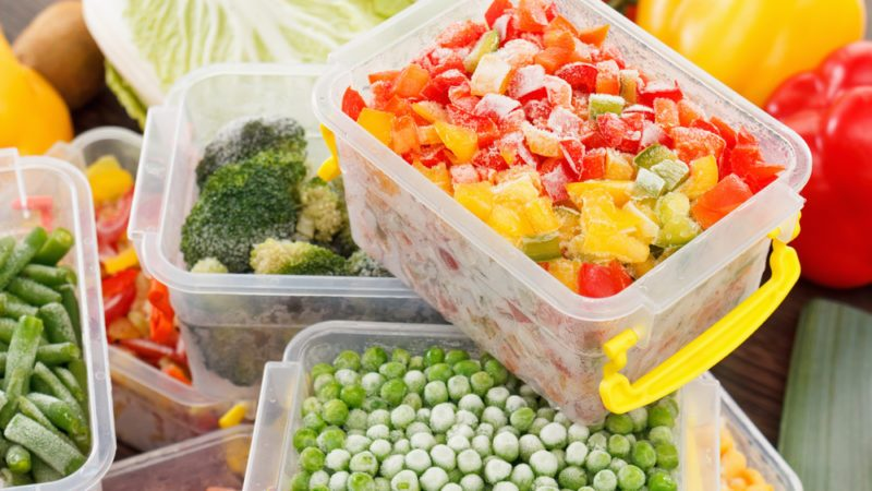 cook good frozen food recipes vegetables in plastic containers. Healthy freezer food and meals.; Shutterstock ID 524197633; Job (TFH, TOH, RD, BNB, CWM, CM): TOH Freezer Tips