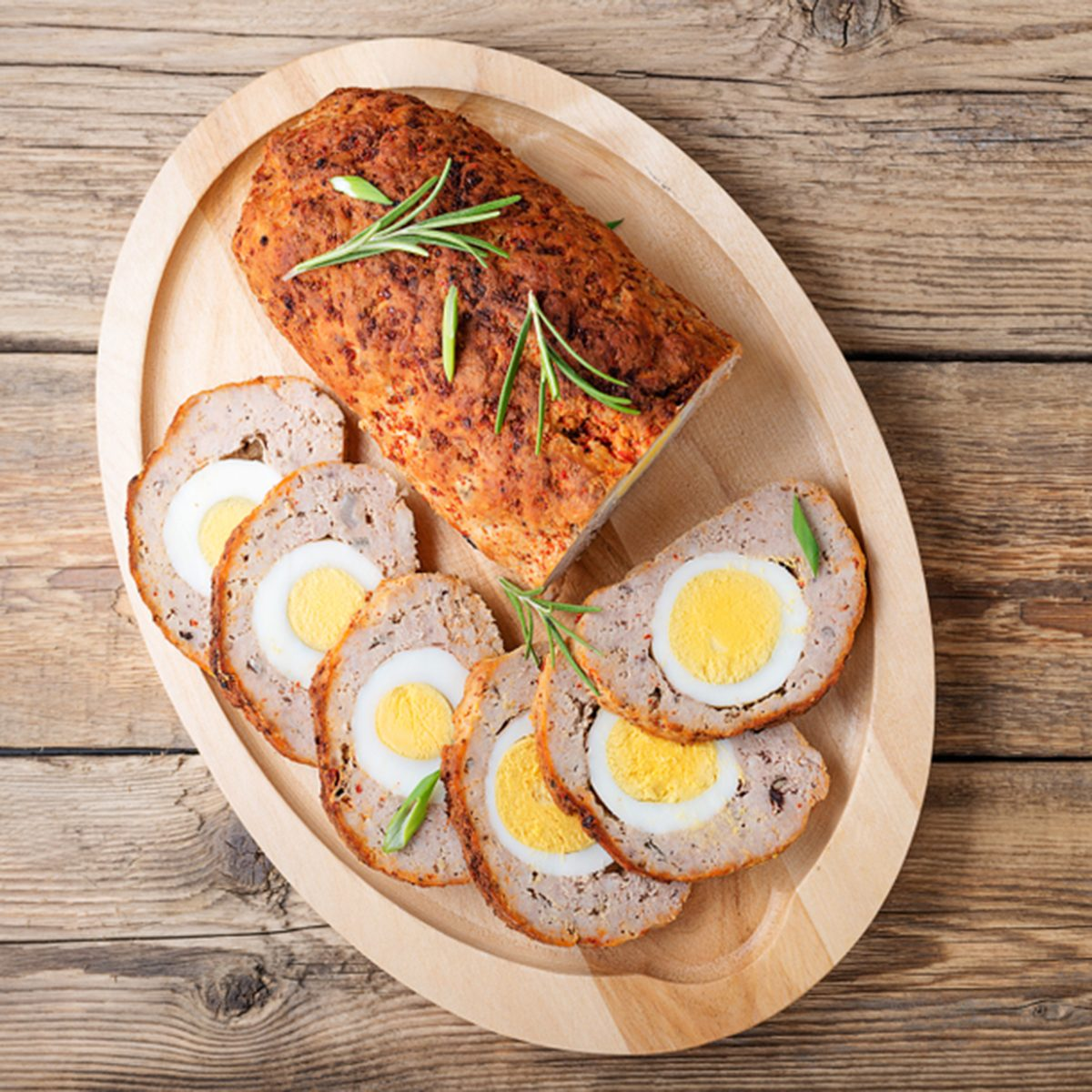 Baked meatloaf with boiled eggs.