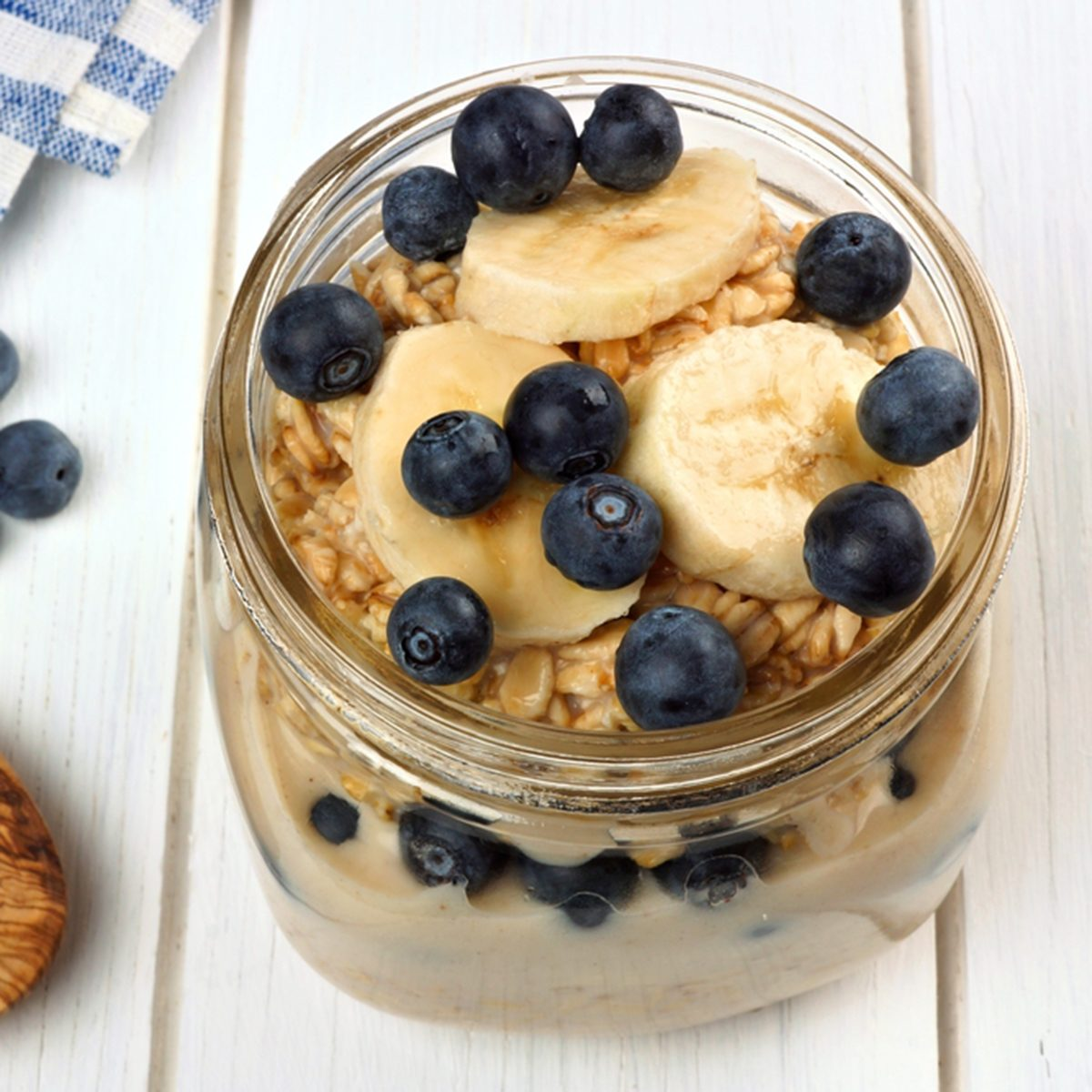 Blueberry and banana breakfast overnight oatmeal in a mason jar