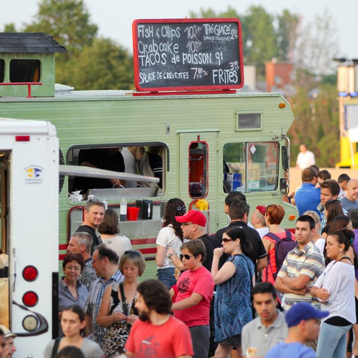 More than 40 food trucks on the esplanade Financiere Sun Life for the event first friday of the month on august 01 in Montreal, Canada.