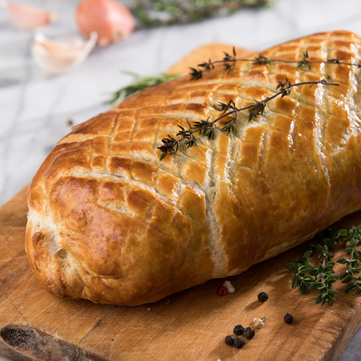 Loaf of Beef Wellington Wrapped in Puff Pastry