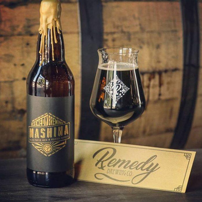 Bourbon barrel aged Baltic porter, Mashina in 22oz bottle