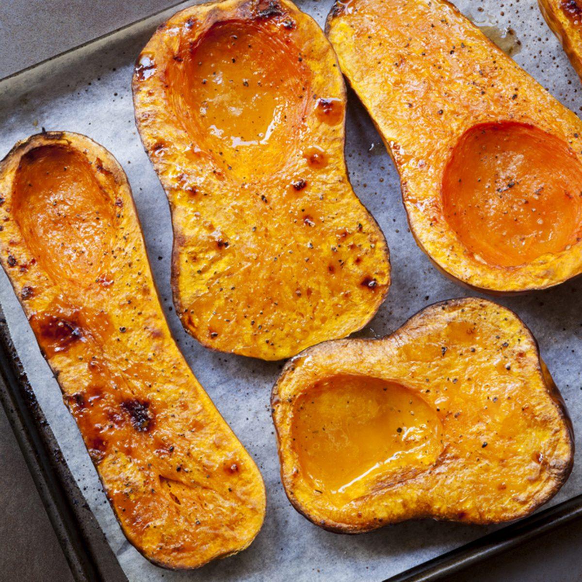 Roasting butternut pumpkin, for a warming soup.