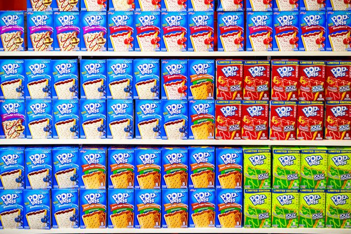 A shelf of Pop-Tarts on display at a confectionery shop at Camden Market