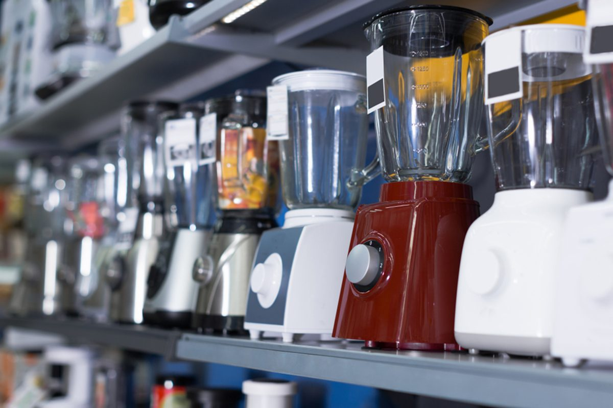 Shelves with versatile blenders, juicers and other electronics kitchen domestic machines at store; Shutterstock ID 1007112280; Job (TFH, TOH, RD, BNB, CWM, CM): Taste of Home