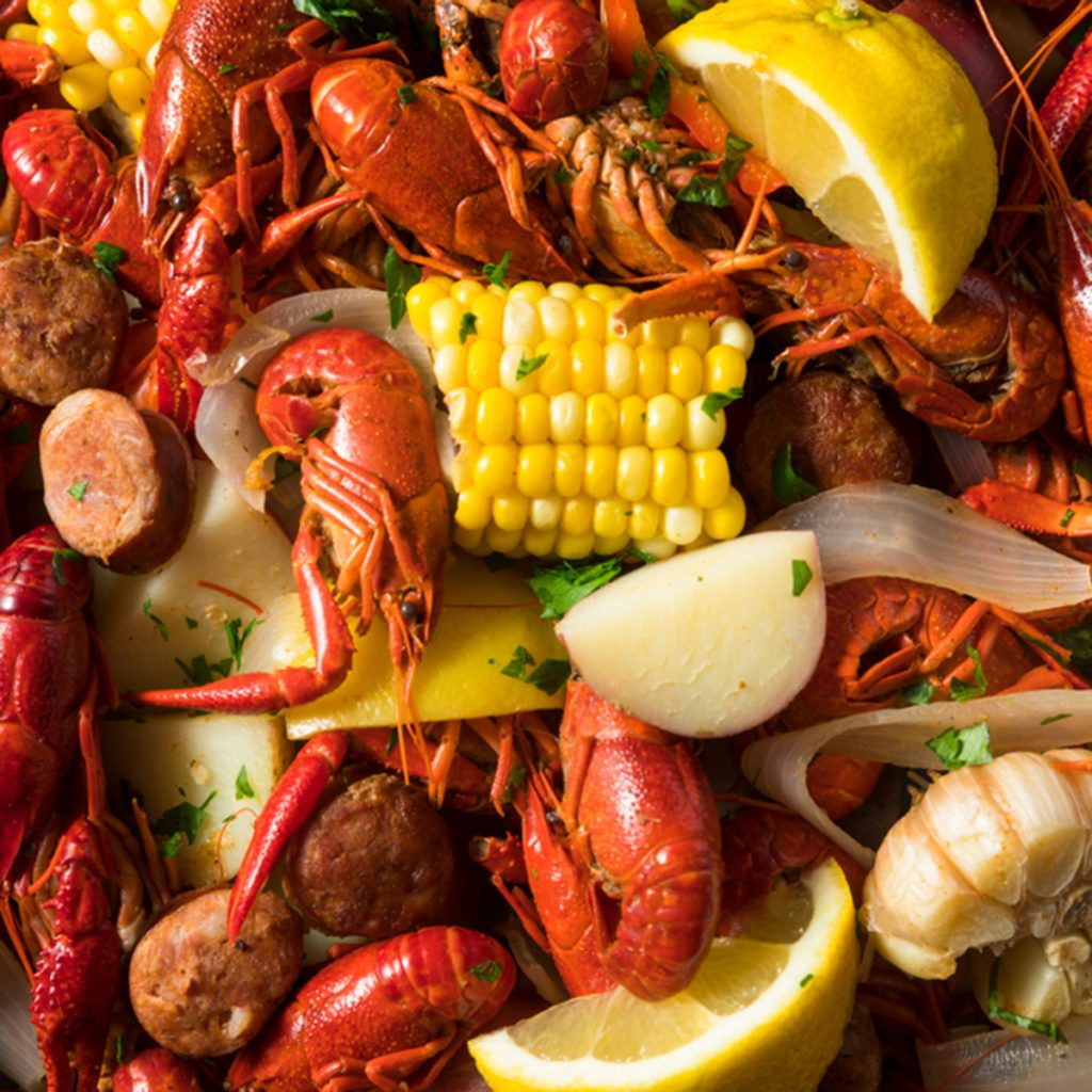 Homemade Southern Crawfish Boil with Potatoes Sausage and Corn; Shutterstock ID 1015153246; Job (TFH, TOH, RD, BNB, CWM, CM): t