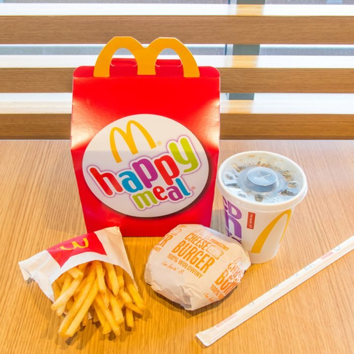 Gdansk, Poland - February 21, 2018: Happy meal with Coca-Cola, french fries and cheeseburger.; Shutterstock ID 1031907622; Job (TFH, TOH, RD, BNB, CWM, CM): Taste of Home