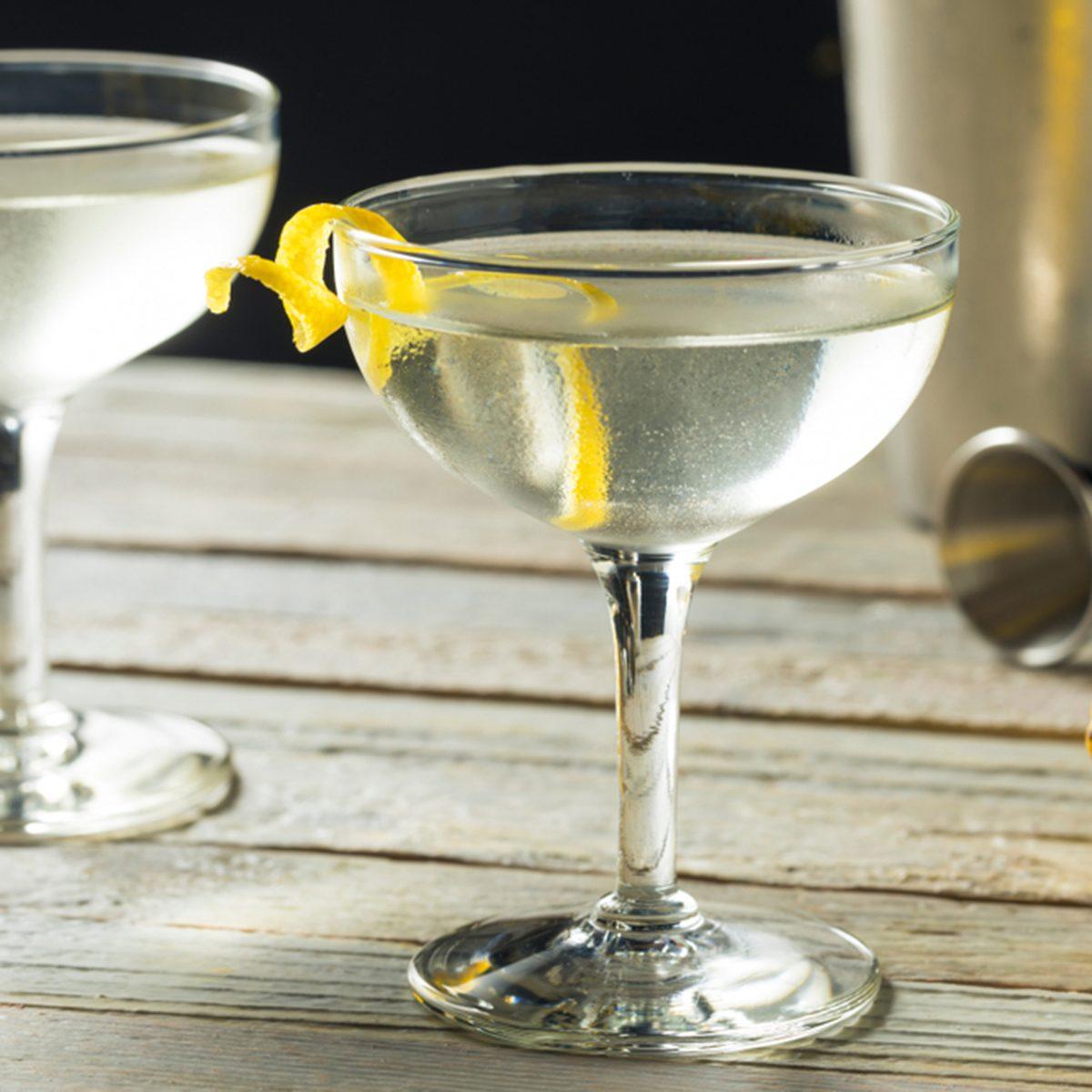 Homemade Alcoholic Vesper Martini with a Lemon Twist; Shutterstock ID 1098618356; Job (TFH, TOH, RD, BNB, CWM, CM): Taste of Home