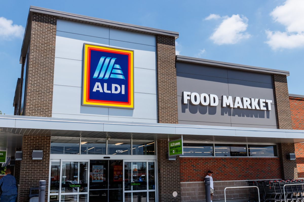 Aldi Discount Supermarket. Aldi sells a range of grocery items, including produce, meat & dairy, at discount prices