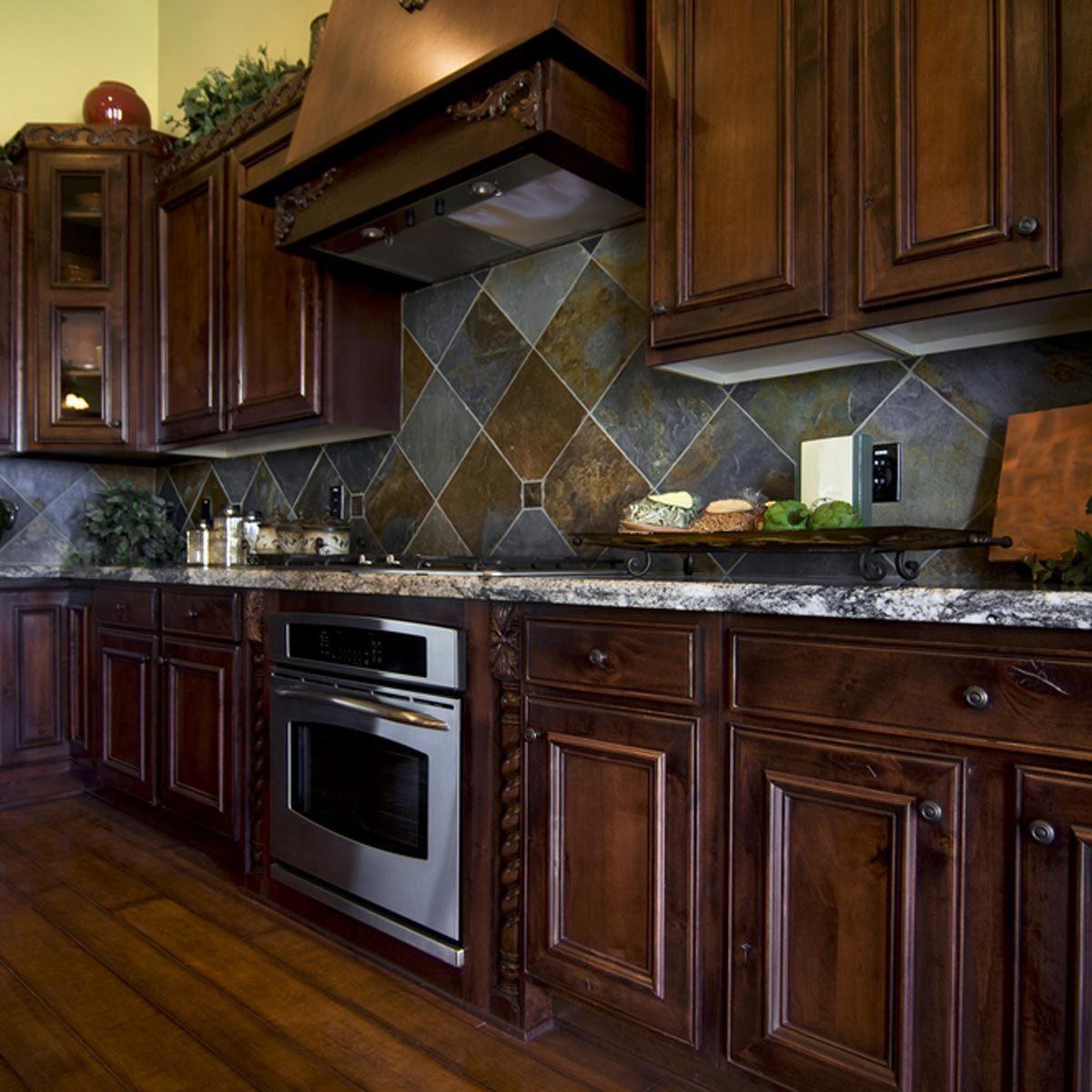 dark wood cabinets