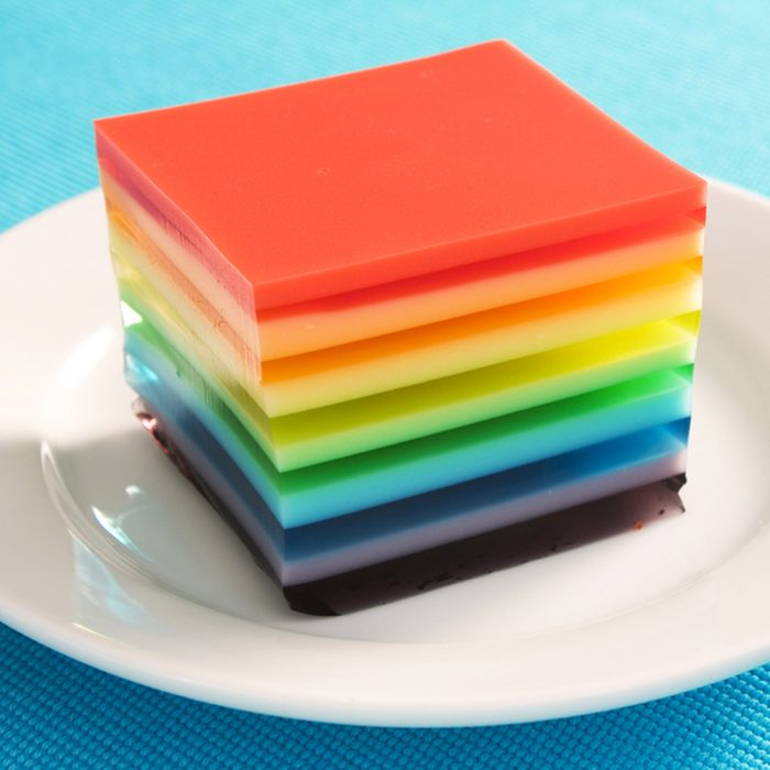 A colorful treat of rainbow layered gelatin dessert. Opaque layers are made with condensed milk.; Shutterstock ID 36610294