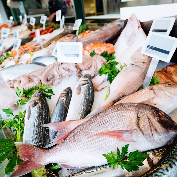 Fresh seafood on ice at the fish market