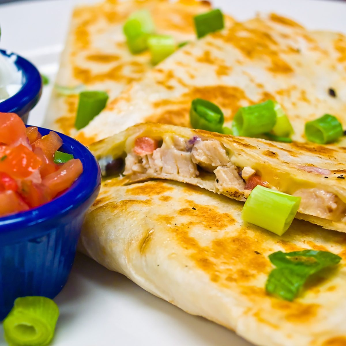 Chicken Quesadilla with Sour Cream and Salsa