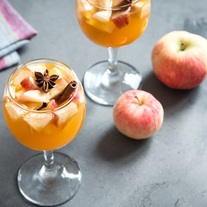 Homemade sangria (apple cider, punch, fruit wine) for autumn and winter holidays