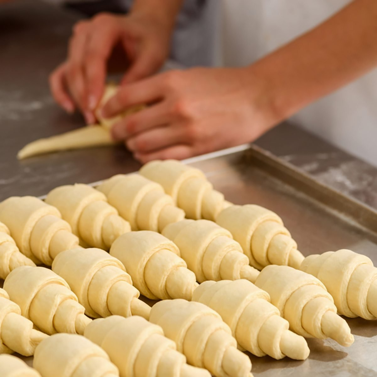 Producing classic croissants at the bakery shop.