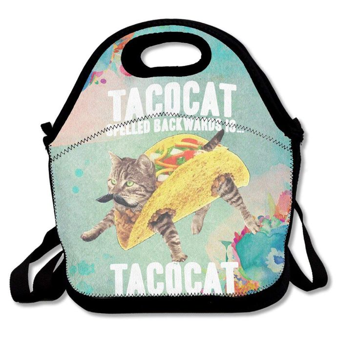 TACOCAT Kitty Cat New Design Lunchboxes With Zipper And Adjustable Crossbody Strap