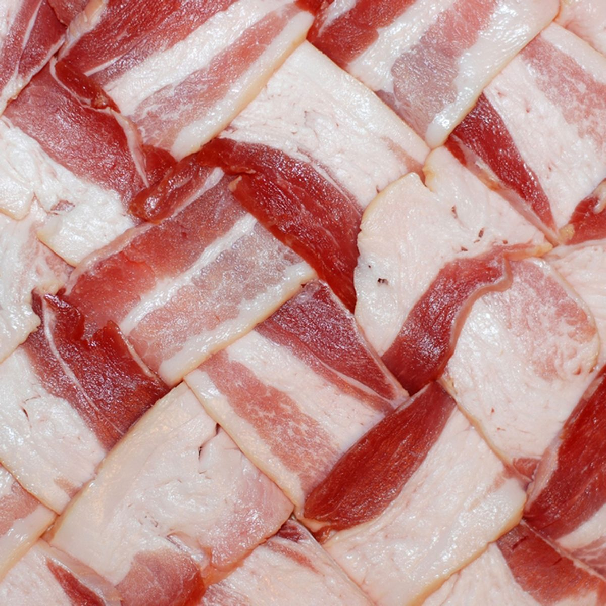Bacon weaved into a pattern