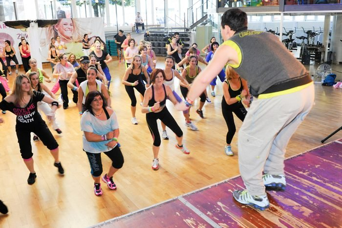 10 november 2013: People dancing during Zumba training fitness at a gym of Lugano on Switzerland