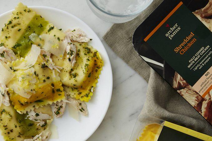 Archer chicken and ravioli