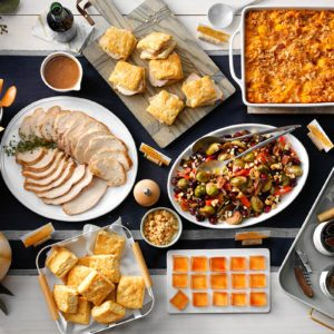 Butternut Squash Mac and Cheese; RMS 168361; Crunchy Bacon Blue Cheese Red Pepper Brussel Sprouts; RMS 192301; Easy Peazy Freezer Biscuits; RMS 175565; Slow Cooker Turkey Breast with Cranberry Gravy; RMS 221617; Spiced Apple Cider Jelly Shots; RMS 229795