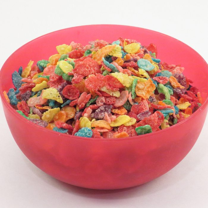 Bowl of colored cereal