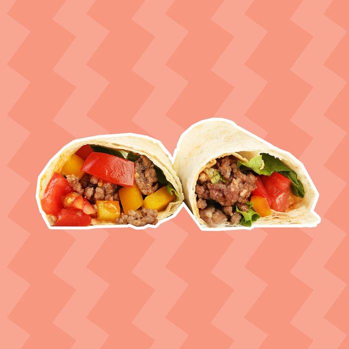 Homemade beef burrito