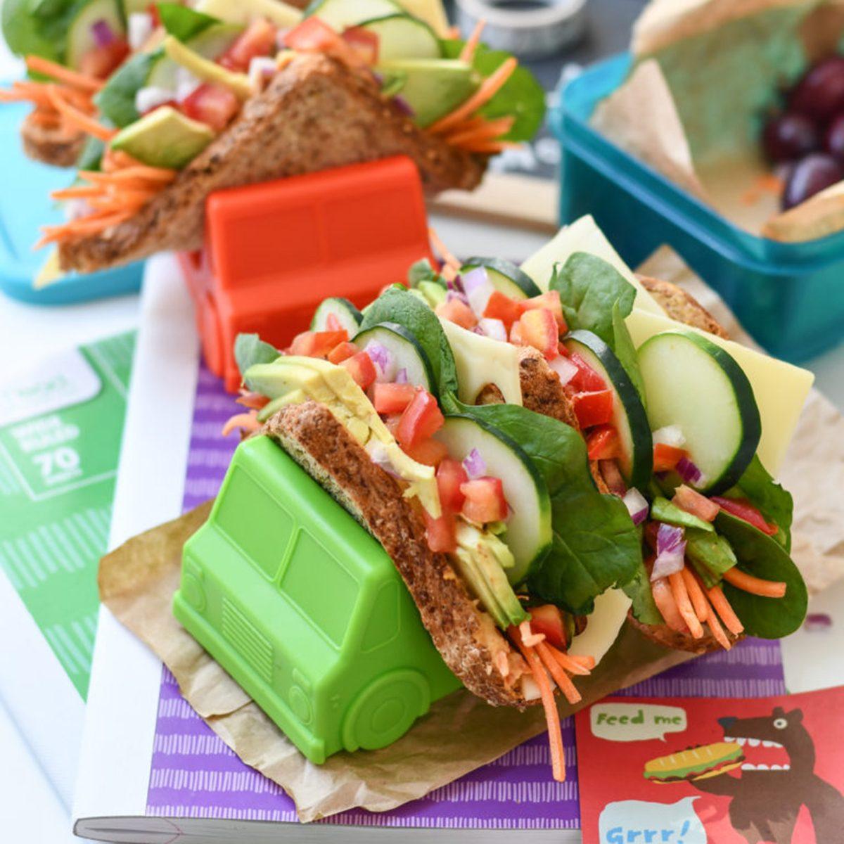 Hummus and veggie sandwich tacos