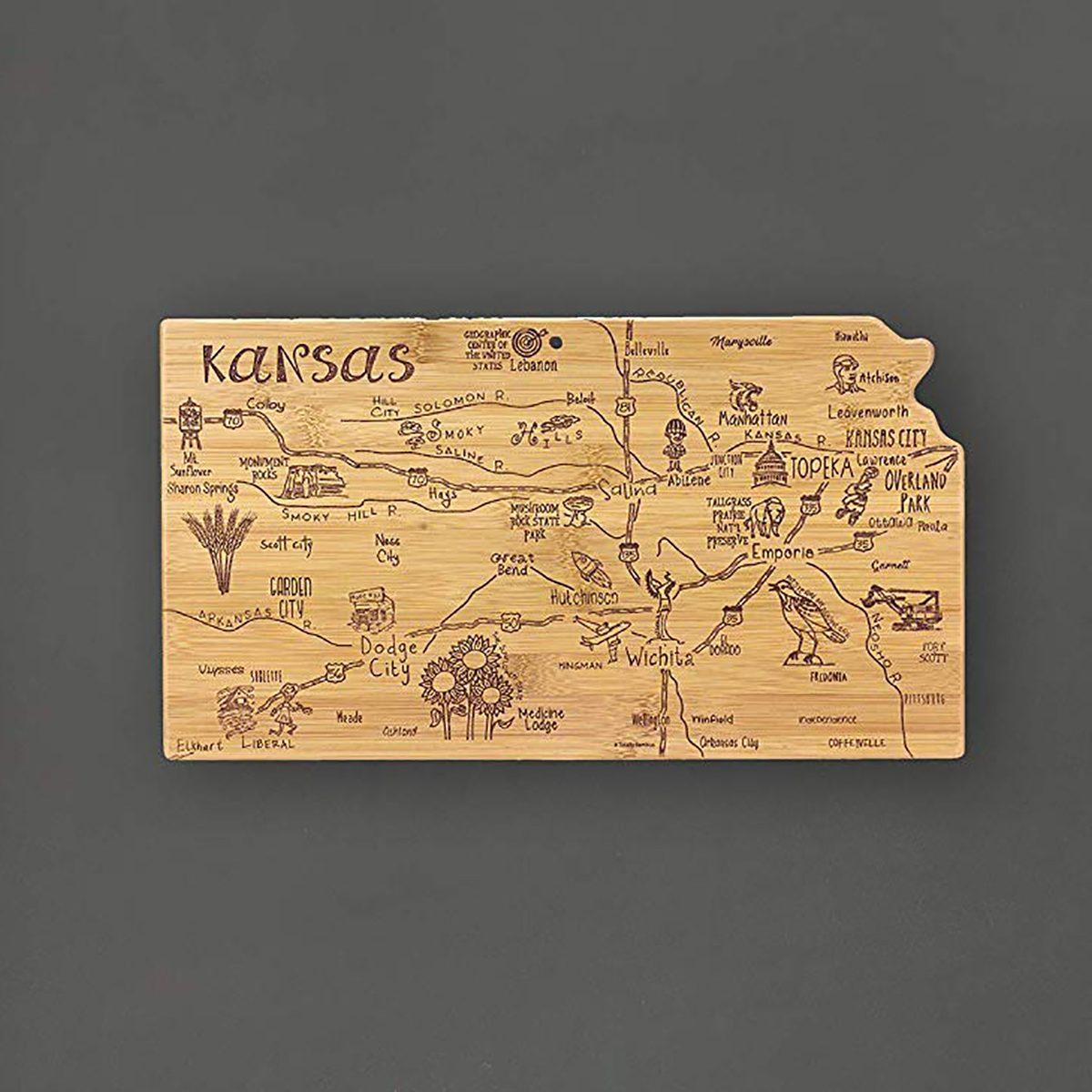 Kansas state shape cutting board