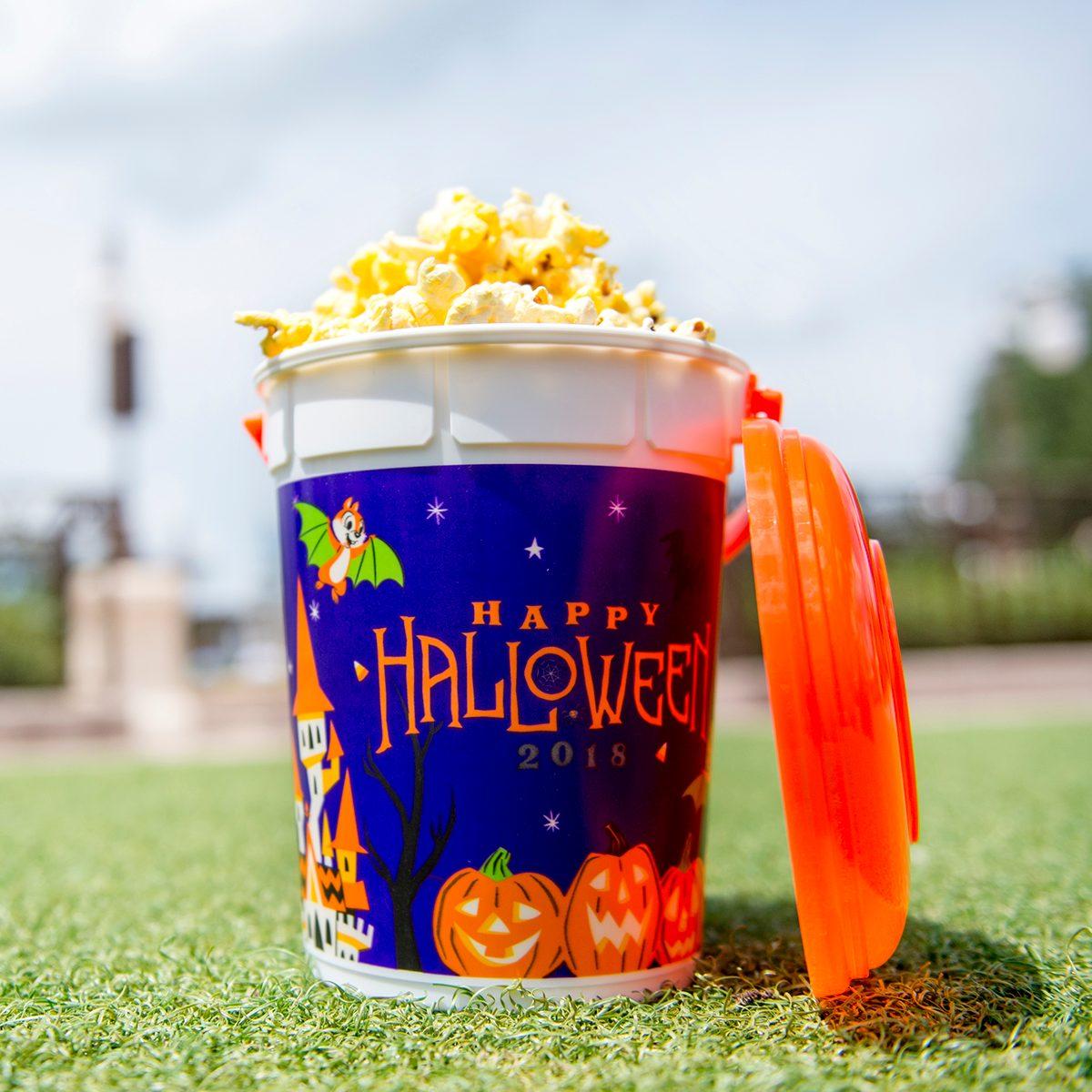 Popcorn in Disney-themed Halloween bucket