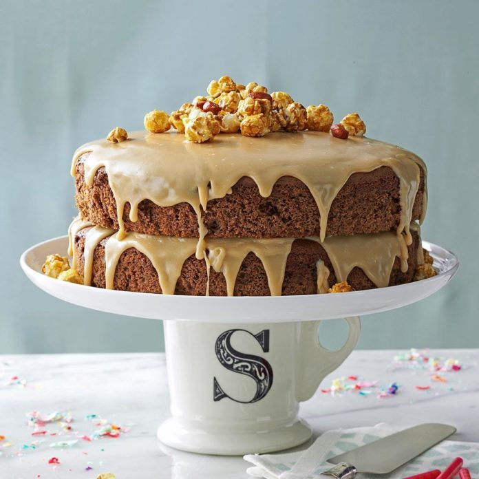 Chocolate Spice Layer Cake with Caramel Icing