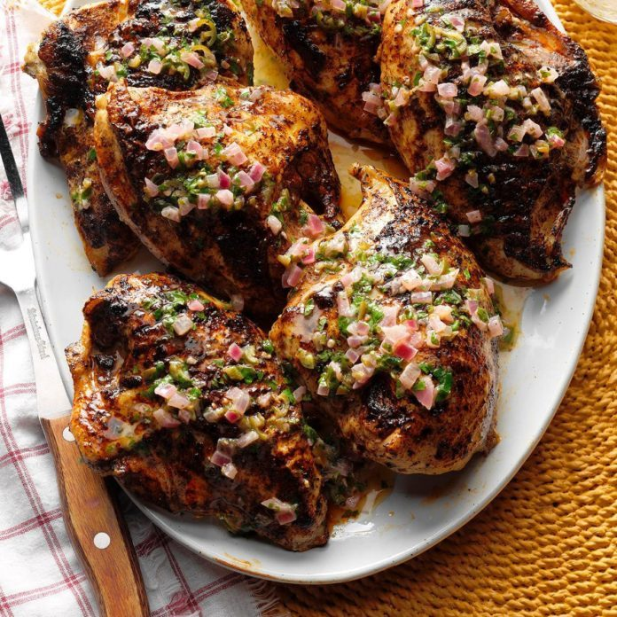 Spiced Grilled Chicken with Cilantro Butter
