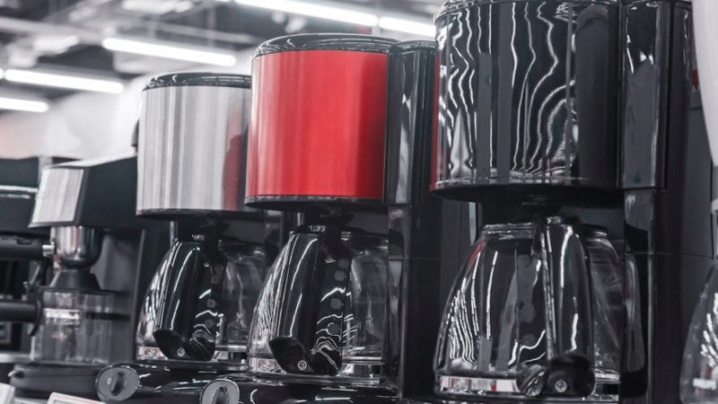 In the shop of home appliances on display are the modern drip coffee makers