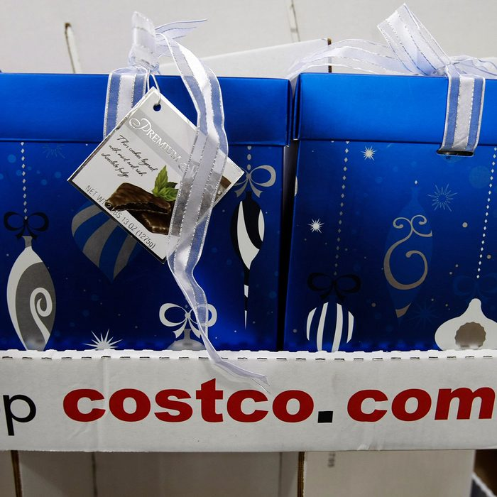 Christmas boxes on display at Costco in Mountain View, Calif