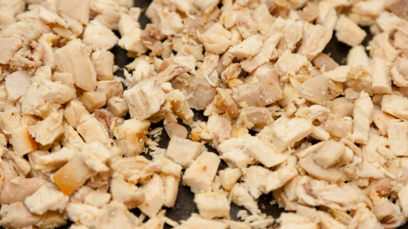 Diced chicken breast fried on large pan.; Shutterstock ID 96981731; Job (TFH, TOH, RD, BNB, CWM, CM): TOH Frozen Chicken Recall