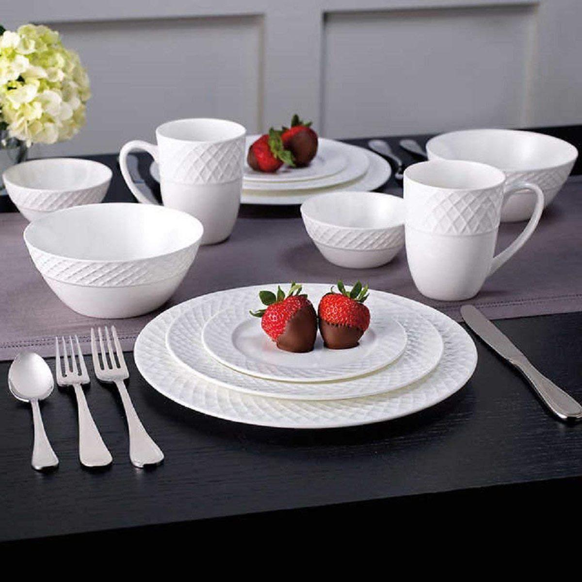 Mikasa Trellis 36 Piece Dinnerware Set, Service for 6, White