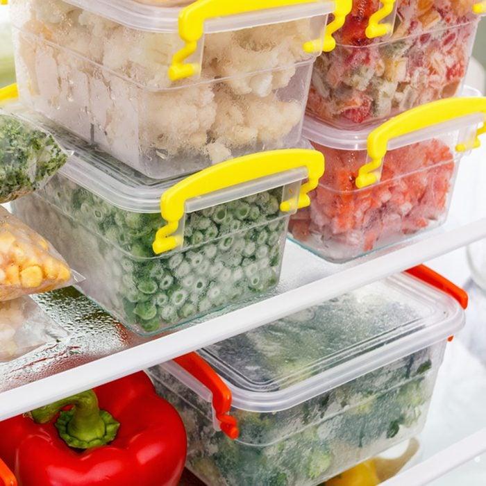 Frozen food in the refrigerator.
