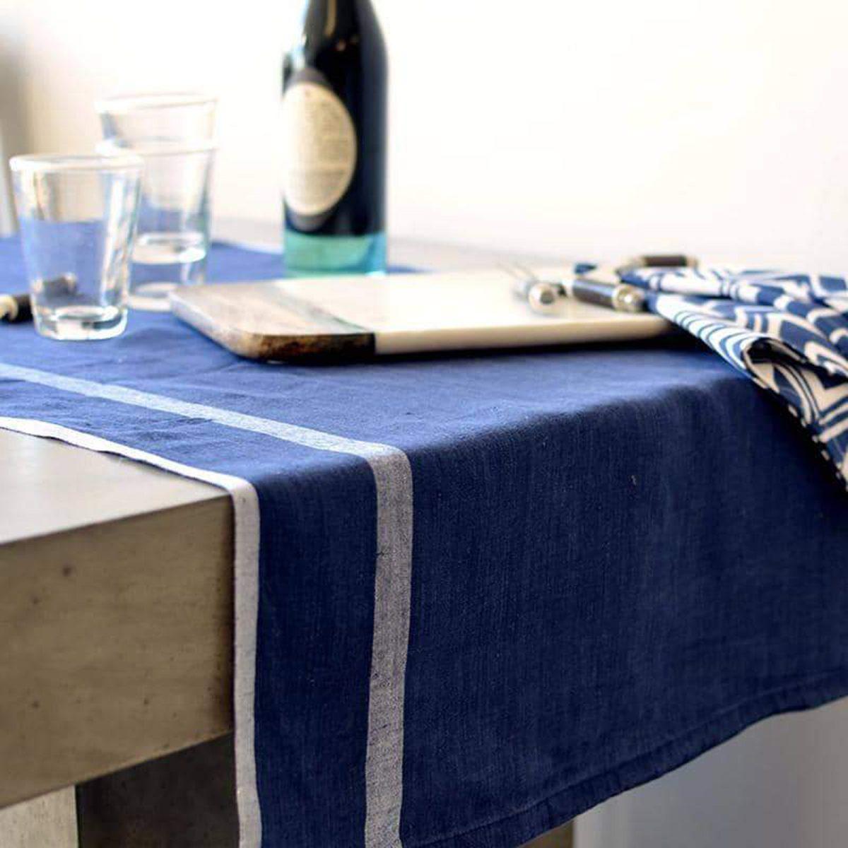 Laundered Linen Runner Indigo & White