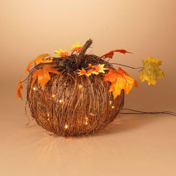 Lighted twig pumpkin